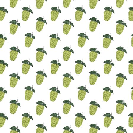 Seamless pattern with beer hop cones. Hand drawn illustration on white background. Can be used for Oktoberfest decoration, wallpaper, wrapping paper and web design.