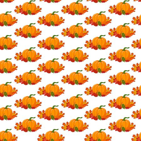 Seamless pattern with hand drawn autumn botanical composition. Cartoon orange pumpkin, leaves and rowanberry branch on white background. Stock Photo