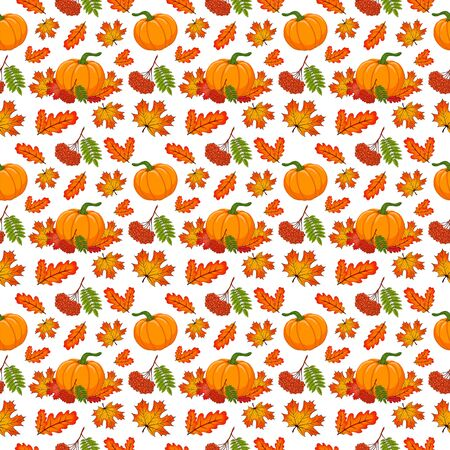 Botanical seamless pattern with autumn composition. Hand drawn cartoon orange pumpkin, leaves and rowanberry branch on white background.