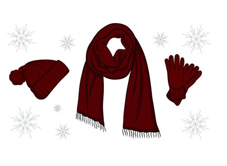Set of burgundy red outdoor fashion clothes and accessories for cold weather. Scarf, hat,  gloves and snowflakes. Collection of objects isolated on white background.
