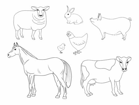 Hand drawn outline set of cow, horse, hen with chicken, sheep and rabbit sketch. Sketch silhouettes of farm animals, poultry birds and cattle. Line art objects isolated on white background.