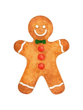 Hand drawn watercolor Christmas gingerbread man cookie. Object for holiday design isolated on white background. Element for Christmas decoration