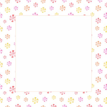 Square frame with watercolor red pink yellow swirl candies. Hand drawn white copy space template for cute sweet design, greeting card, scrapboocking