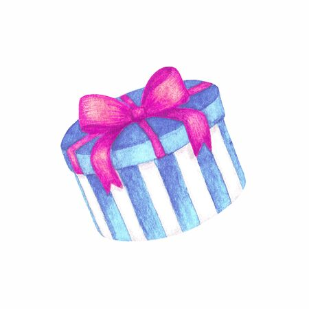 Watercolor hand drawn striped blue turquoise gift hat box, present with pink ribbon bow. Object isolated on white background for cute holiday design