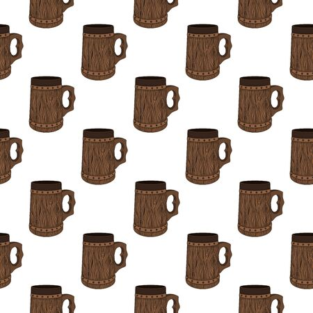 Seamless pattern with beer medieval style mug, tankard. Hand drawn illustration on white background. Perfect for holiday, Oktoberfest and St.Patrick 's Day decoration, wallpaper, wrapping paper