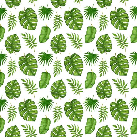 Seamless pattern with watercolor green tropical palm tree branches, banana, monstera leaves on white background. Hand drawn summer nature print for design wrapping paper, textile, fabric, scrapbooking