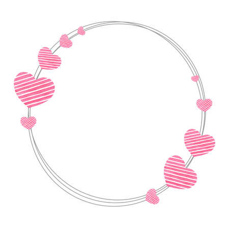 Thin delicate round wreath shaped frame with striped pink hearts isolated on white background for holiday love and wedding design, paper products, greeting cards, valentine, etc Standard-Bild