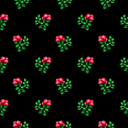 Seamless watercolor pattern with pink red forest berries cowberry brunch and green leaves on black background. Hand drawn vintage fashion print for design textile, fabric, wrapping paper, scrapbooking