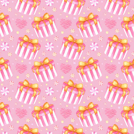 Hand drawn seamless pattern with watercolor gift box, hearts and round candies on pink background for cute holiday and Valentine's Day design, wrapping paper, card, print, fabric, scrapbooking