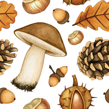 Watercolor seamless pattern of mushroom, pine cone, chestnuts, acorns, leaf. Background with hand drawn autumn forest plant, elements for design poster, textile, card, wrapping paper, scrapbooking 免版税图像