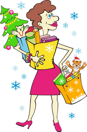Woman with New Years gifts