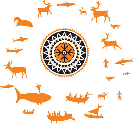 Ornament with northern animals and hunting people Vector