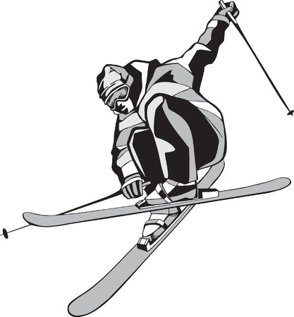 Mountain skier on skis Vector