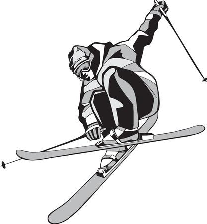 ski jump: Mountain skier on skis