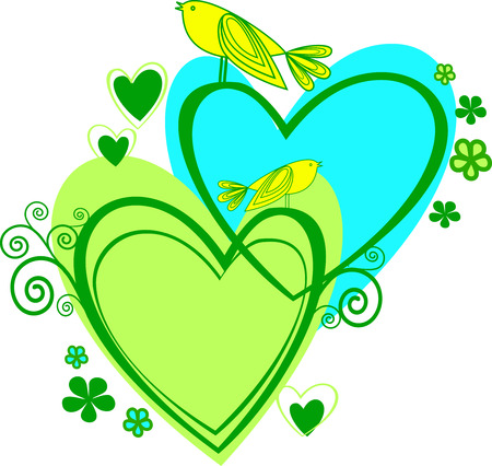 Love: two heart and birds Vector