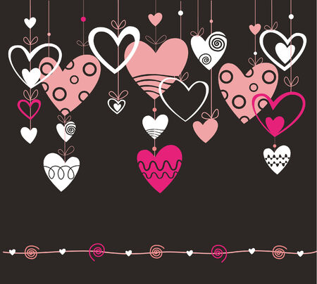 Seamless vector with heart on the black background