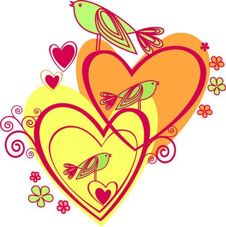 Love: hearts and birds Illustration