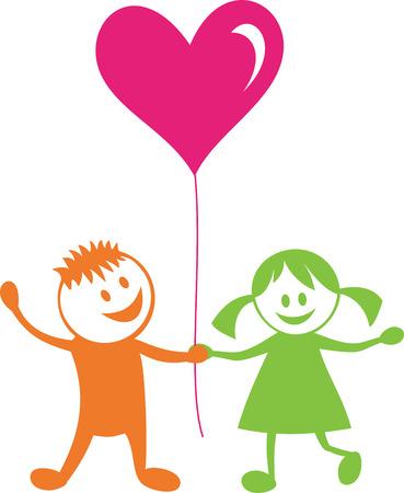 Liebe und friendship.Happy Kinder mit Herzen  Illustration