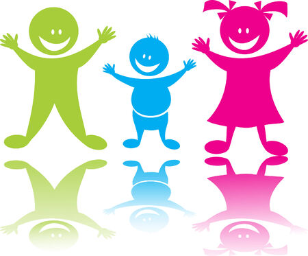 Cheerful happy children  Illustration