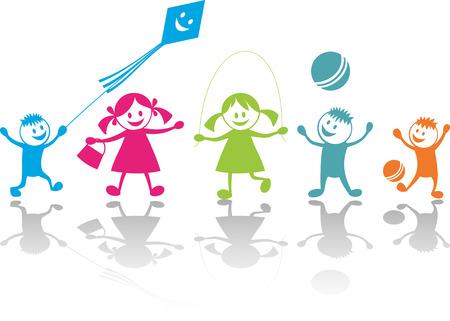 bambini che giocano: Allegri giochi bambini  Vettoriali