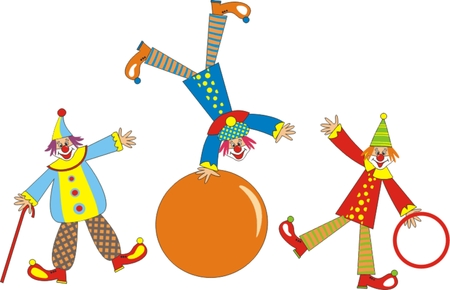 Cheerful clowns for children holiday