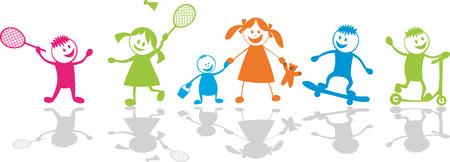 tennis girl: Happy playing children.Sport