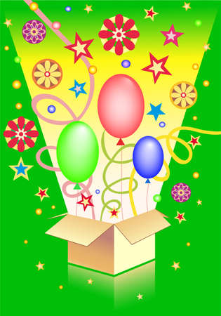 Box with surprise on the  green background