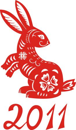 Chinesische Sternzeichen Kaninchen Jahres. SIMBOL das Neujahr 2011 Illustration