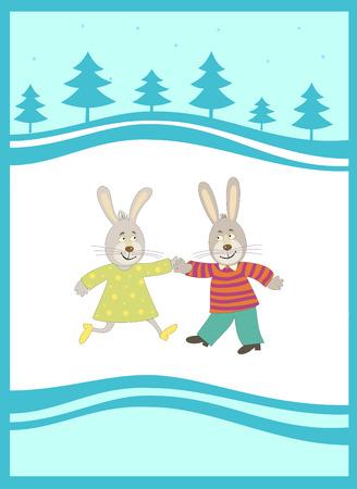 Kaninchen auf dem Hintergrund New Year. SIMBOL das Neujahr 2011