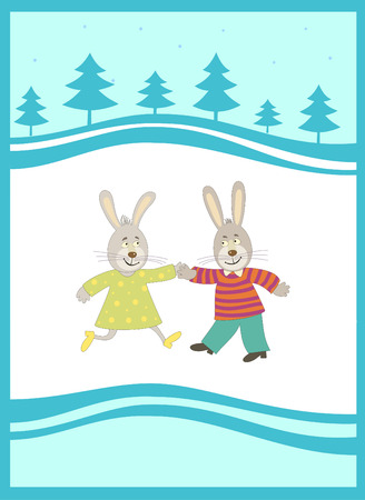 Rabbits on  the  New Year background. Simbol of the  New Year 2011 Illustration