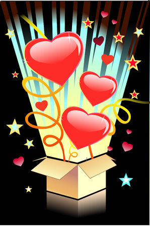Valentines day background with hearts in the box Illustration