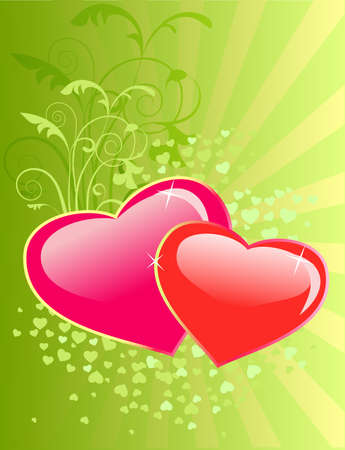 sensitivity: Valentines day floral background with two hearts
