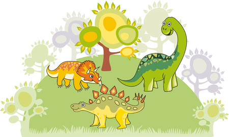 Cartoon dinosaur collection Vector