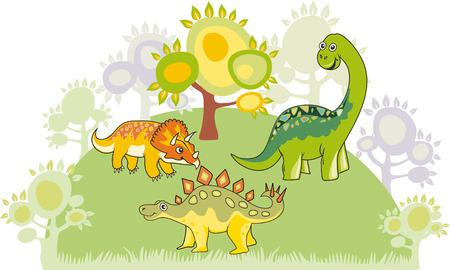 tiranosaurio rex: Colecci�n de dinosaurio de dibujos animados Vectores