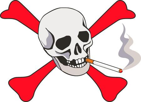 tobacco: Cigarette with skull. Illustration