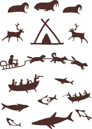 Animals and northern people.Stylized pictogram . Vector