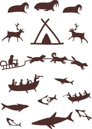 Tiere und northern People.Stilisierte Piktogramme. Vektor