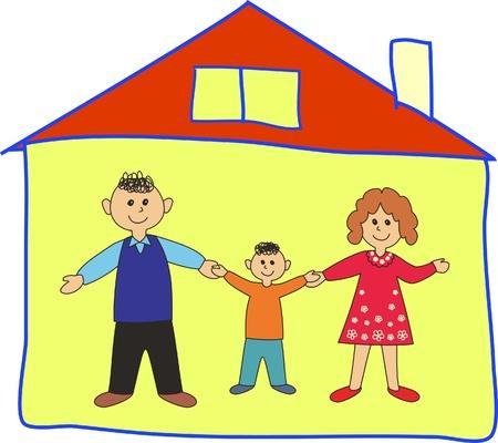 Gl�ckliche Familie in der Heimat. Cartoon-Abbildung