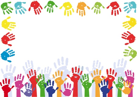 Color hands palms background. Frame for text.