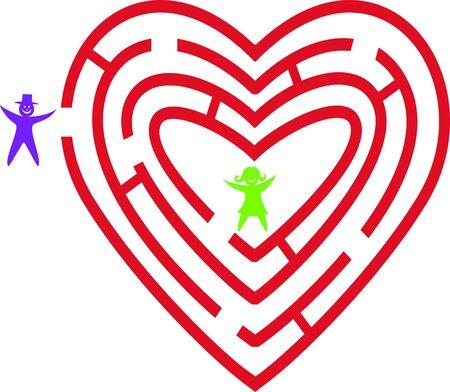 Heart maze. Vector