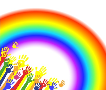 Color hands palms with rainbow  Illustration
