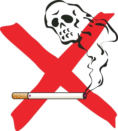 health hazard: No smoking. illustration with cigarette and skelleton.