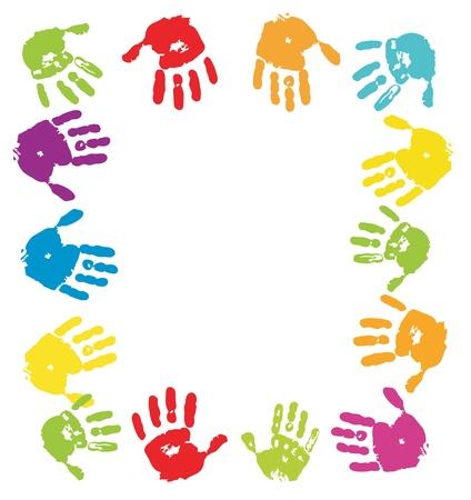 finger prints: Fondo de Palmas de color Vectores