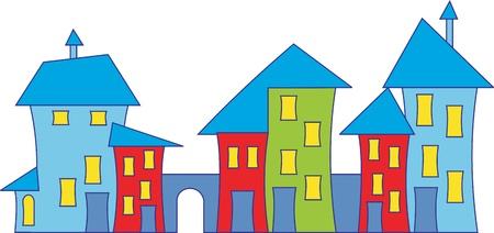 roof line: Casa de pueblo de dibujos animados.  Vectores