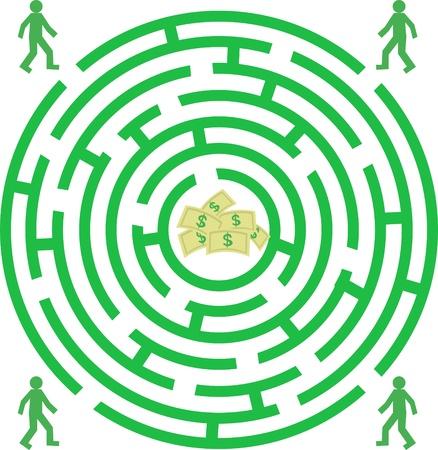 Labyrinth mit Piople und Geld