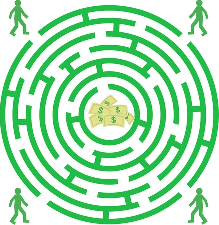 Labyrinth  with piople and money Stock Vector - 9652964