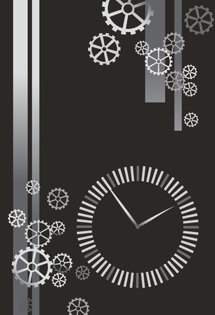 vector illustration of the clock and gears