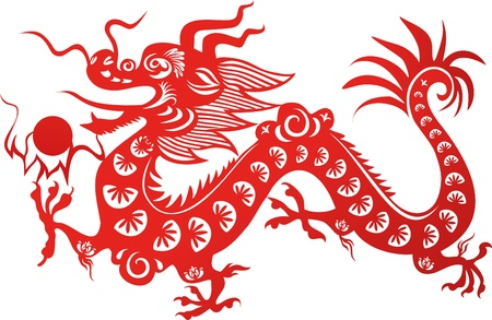 dragon tattoo: Traditional Chinese dragon. Symbol of the 2012 year