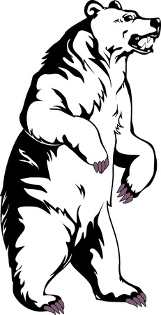 bear silhouette: Orso Grizzly Vettoriali