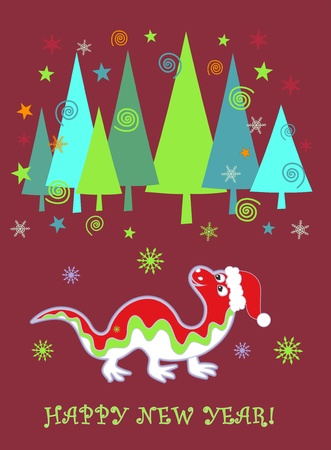New Year background with dragon and Christmas tree Illustration
